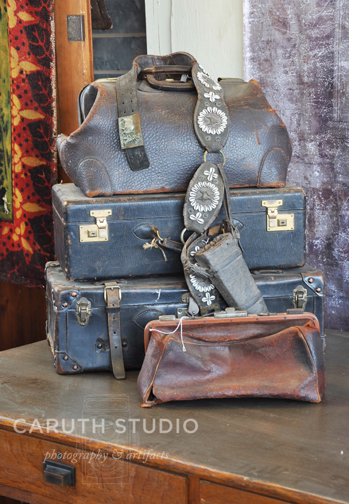 Vintage leatherbound suitcases and luggage