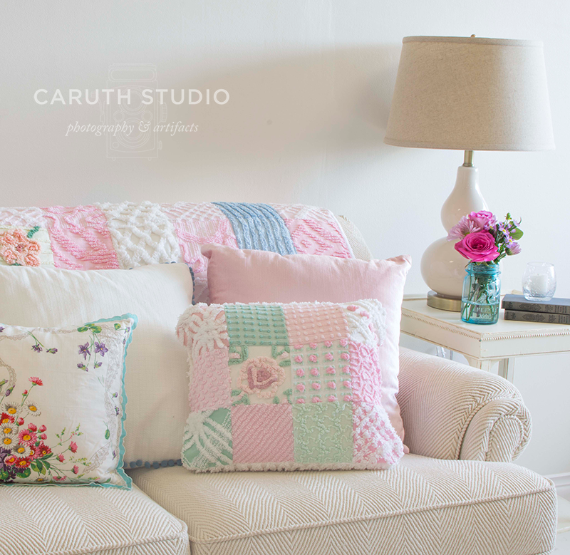 Patchwork pillow on a white textured sofa