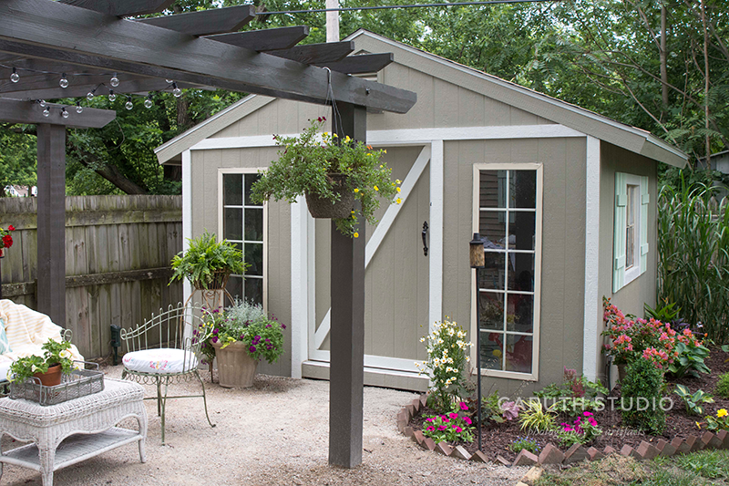Shed and crushed limestone patio
