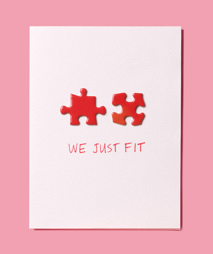 We Just Fit Card with red puzzle pieces