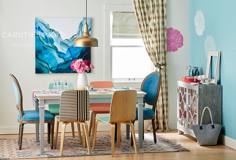 Finished colorful dining room