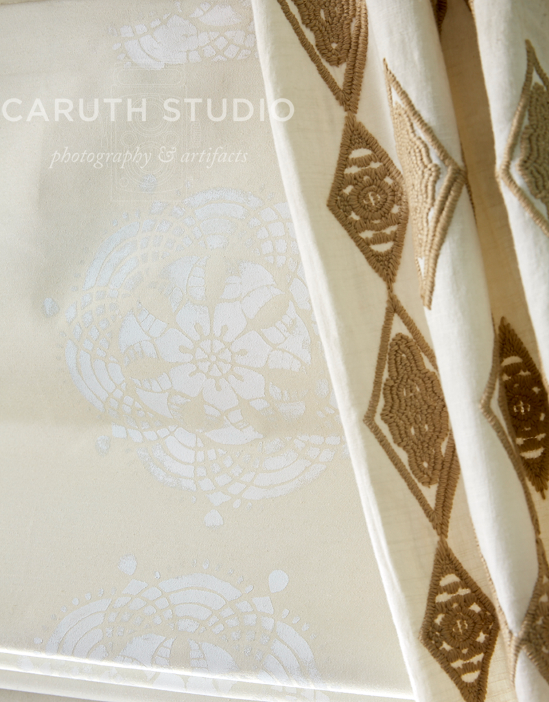 Gold patterned curtain