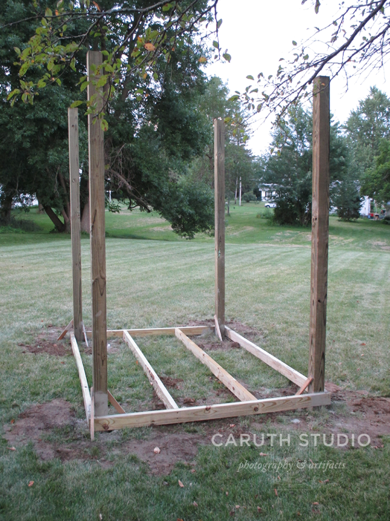 Shed posts in place