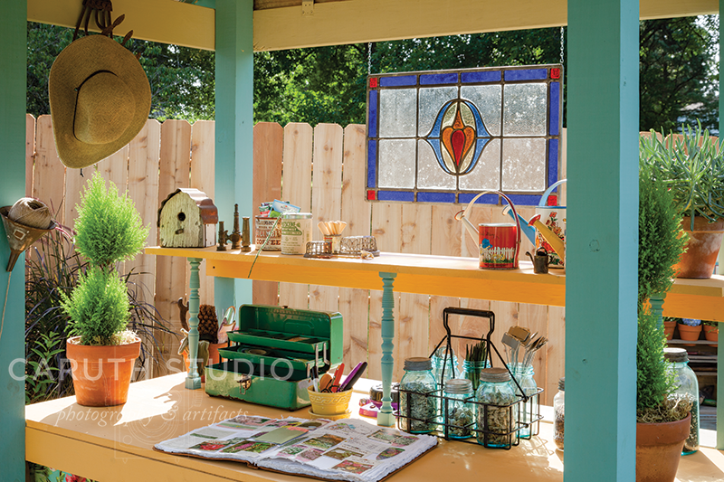 Work table in shed
