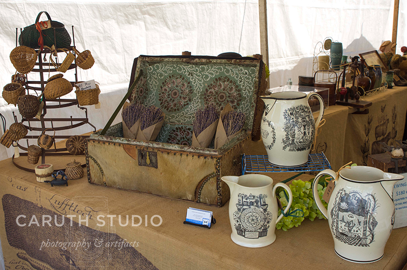 sweet picnic basket and antique white pitchers
