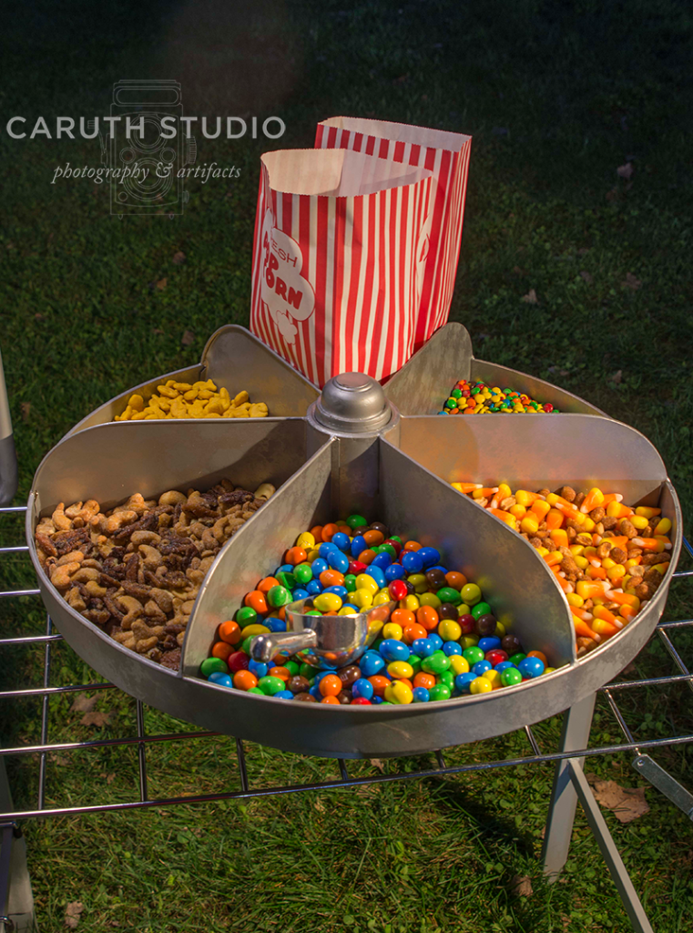 movie night snack and candy wheel