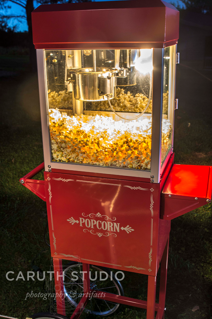 popcorn machine filled with fresh popcorn