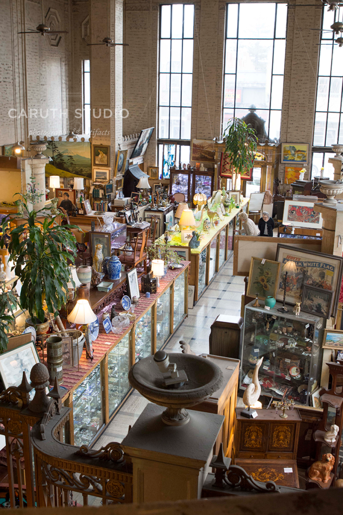 Vintage Bank Antiques store from above showing isles of antiques