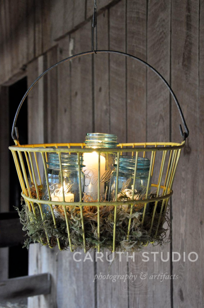 Egg basket chandelier