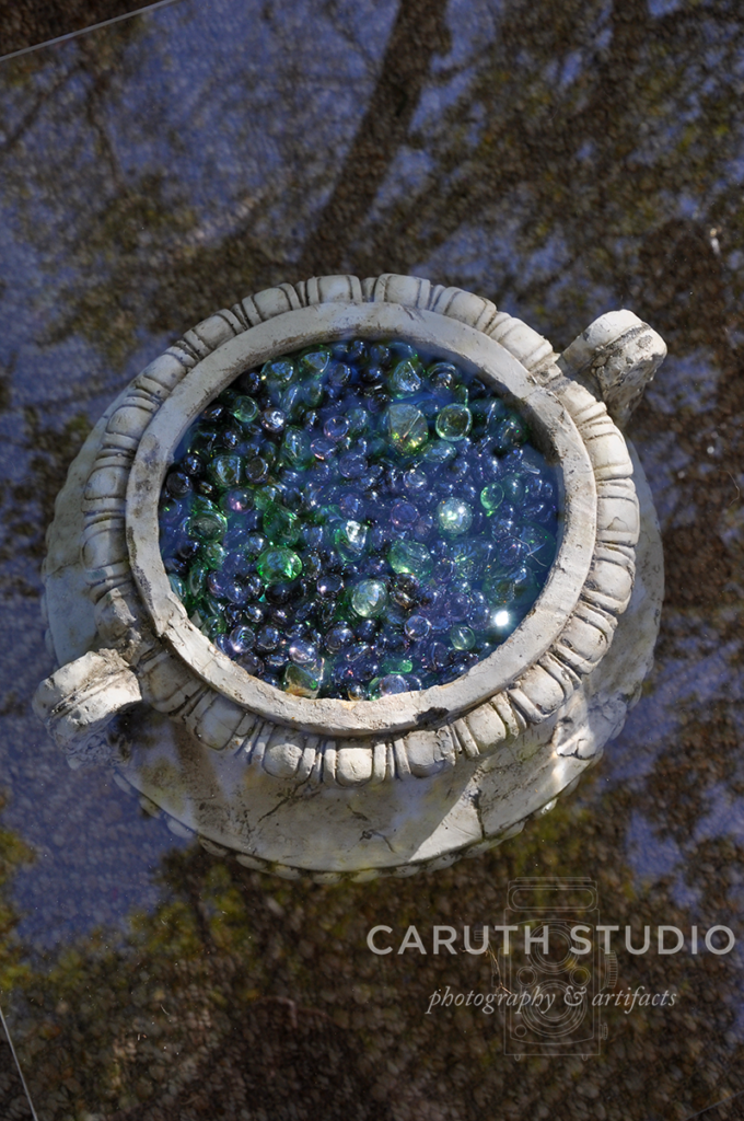 Marble filled urns