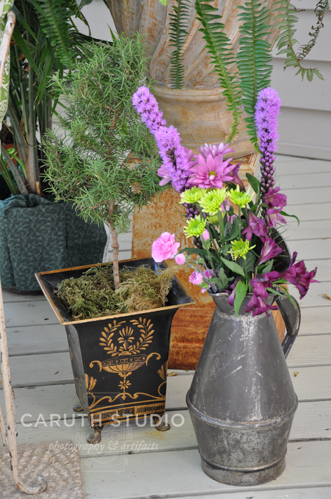 Repurposed containers as flower vases