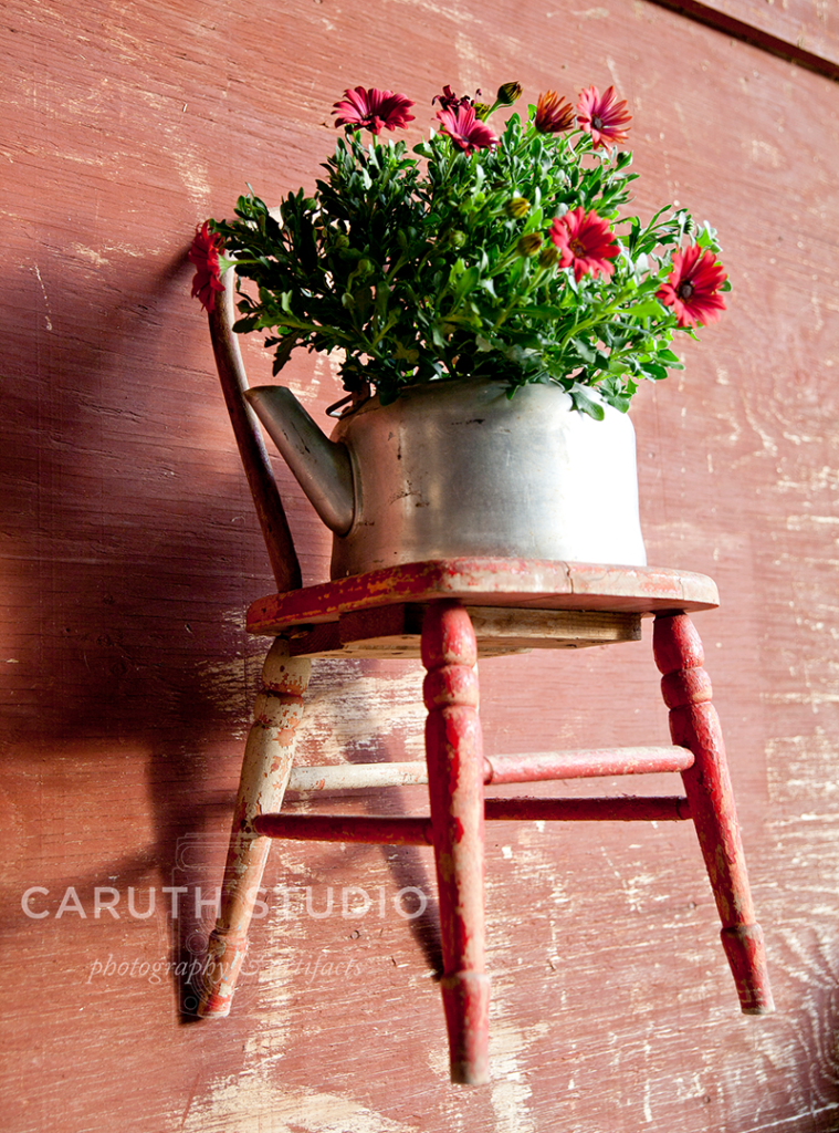 Child's chair on a wall with potted flower