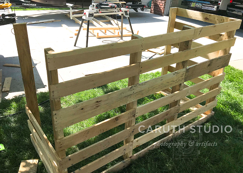 partially constructed pallet bar