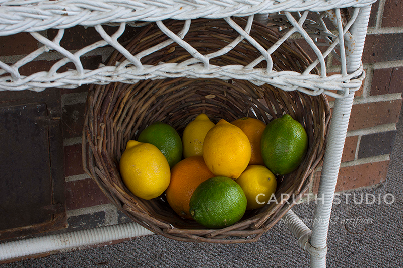 citrus fruits in a woven basket