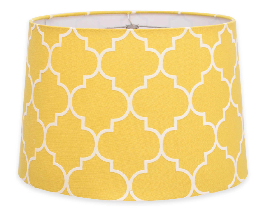 BedBathBeyond_Flocked Linen Large 10-Inch Lamp Shade In Yellow and White
