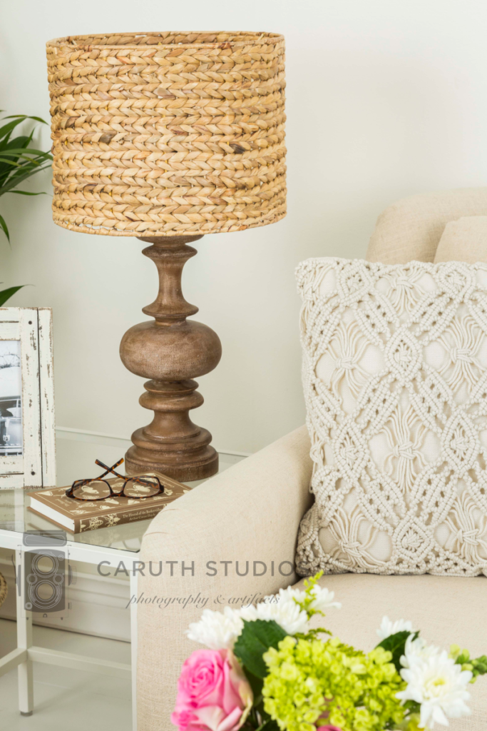 Neutral living room table lamp and sofa pillow