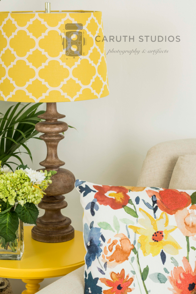 Yellow living room pillow and lamp