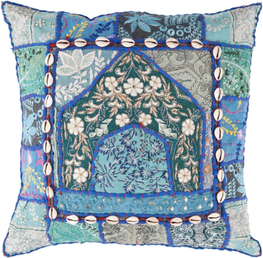 22 inch Cerulean Blue and Pine Green Bohemian Floral Patchwork Throw Pillow