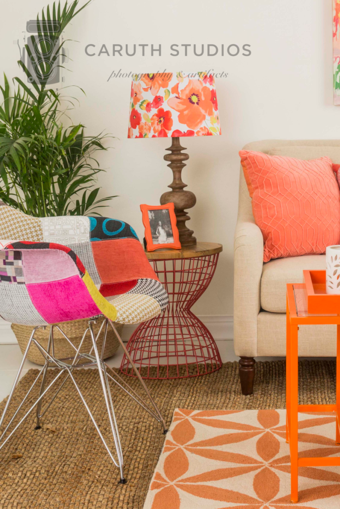 Coral living room side chair and table