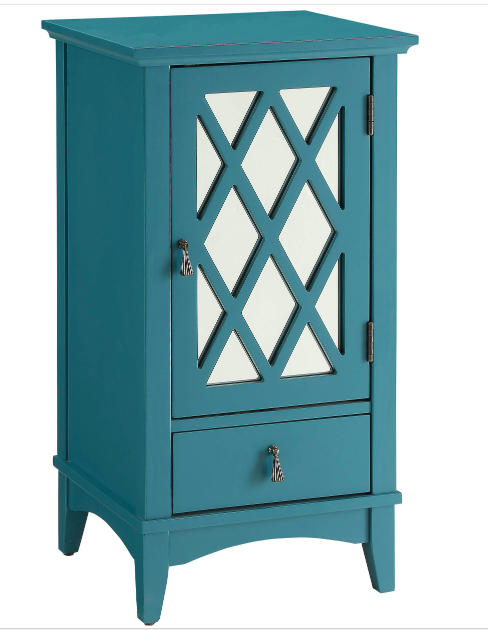 Overstock_Acme Furniture Ceara Teal Mirrored Accent Storage Table